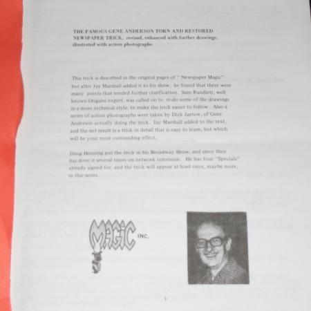 Gene Anderson's Newspaper Trick by Magic Inc.