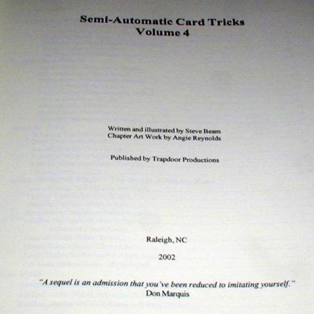 Semi-Automatic Card Tricks: Vol. 4 by Steve Beam