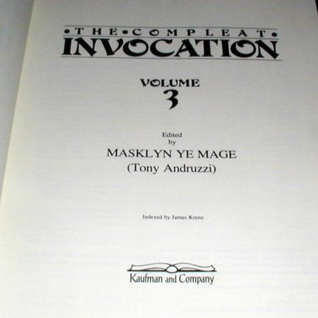 Compleat Invocation, The Vol. 3 by Tony Andurzzi