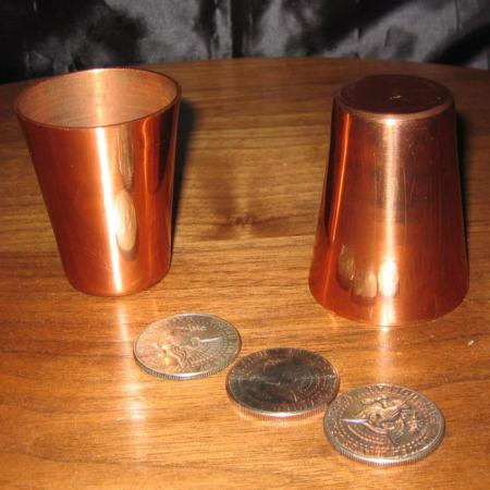 Solid Copper Cups and Coins by European Builder