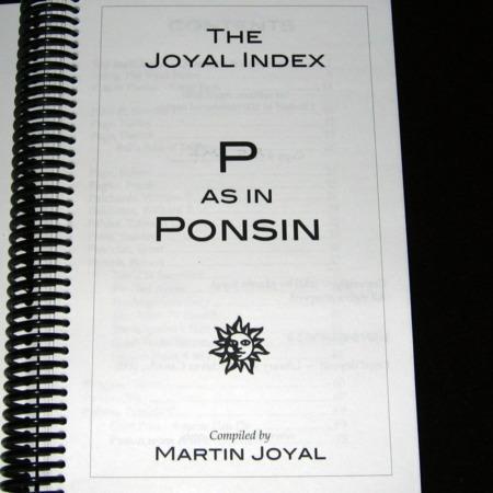 Joyal Index: P as in Ponsin by Martin Joyal