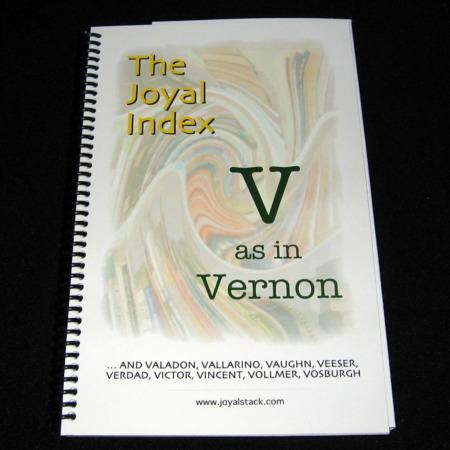 Joyal Index: V as in Vernon by Martin Joyal
