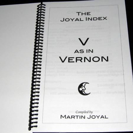 Joyal Index: V as in Vernon by Martin Joyal