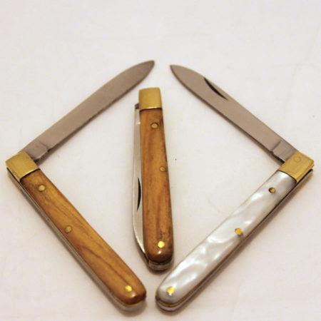 Koa Wood + Mother of Pearl Knives by Joe Mogar