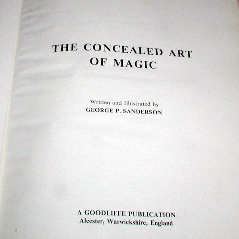 Concealed Art Of Magic By George P Sanderson Martin 39 S