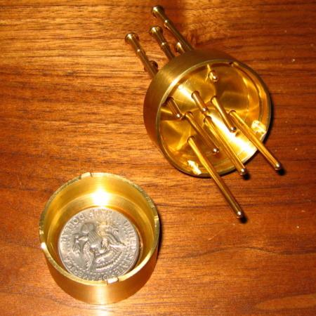 Solid Brass Spiked Coin by Bob Solari Magic
