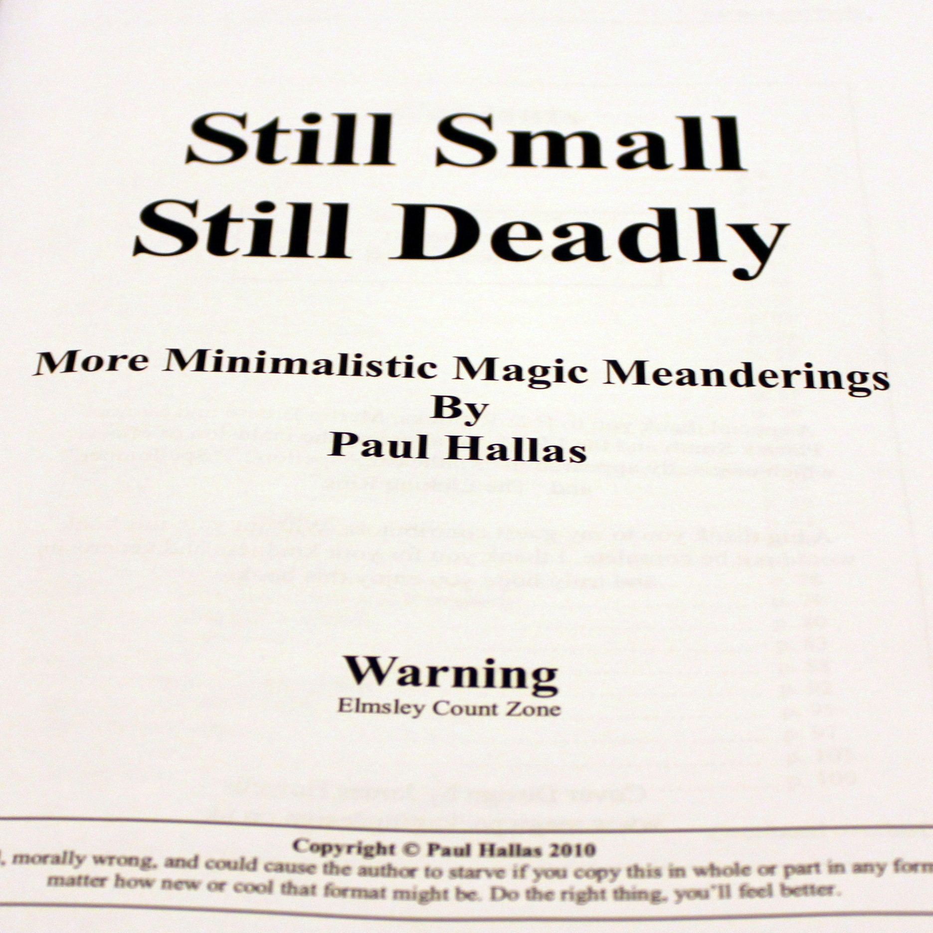 Still Small Still Deadly by Paul Hallas