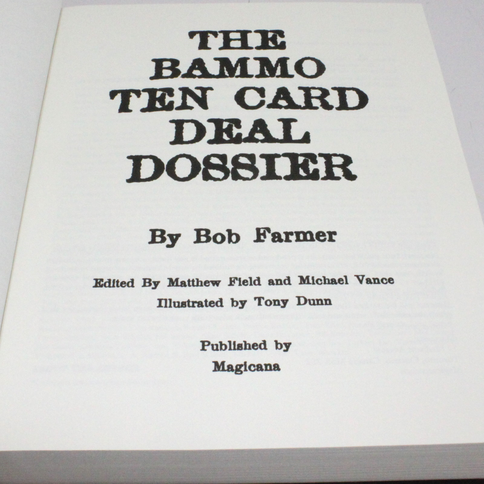 The Bammo Ten Card Deal Dossier by Bob Farmer