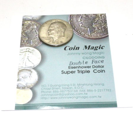 Super Triple Coin (Double Face) (Eisenhower Dollar) by Johnny Wong, Paul Richards