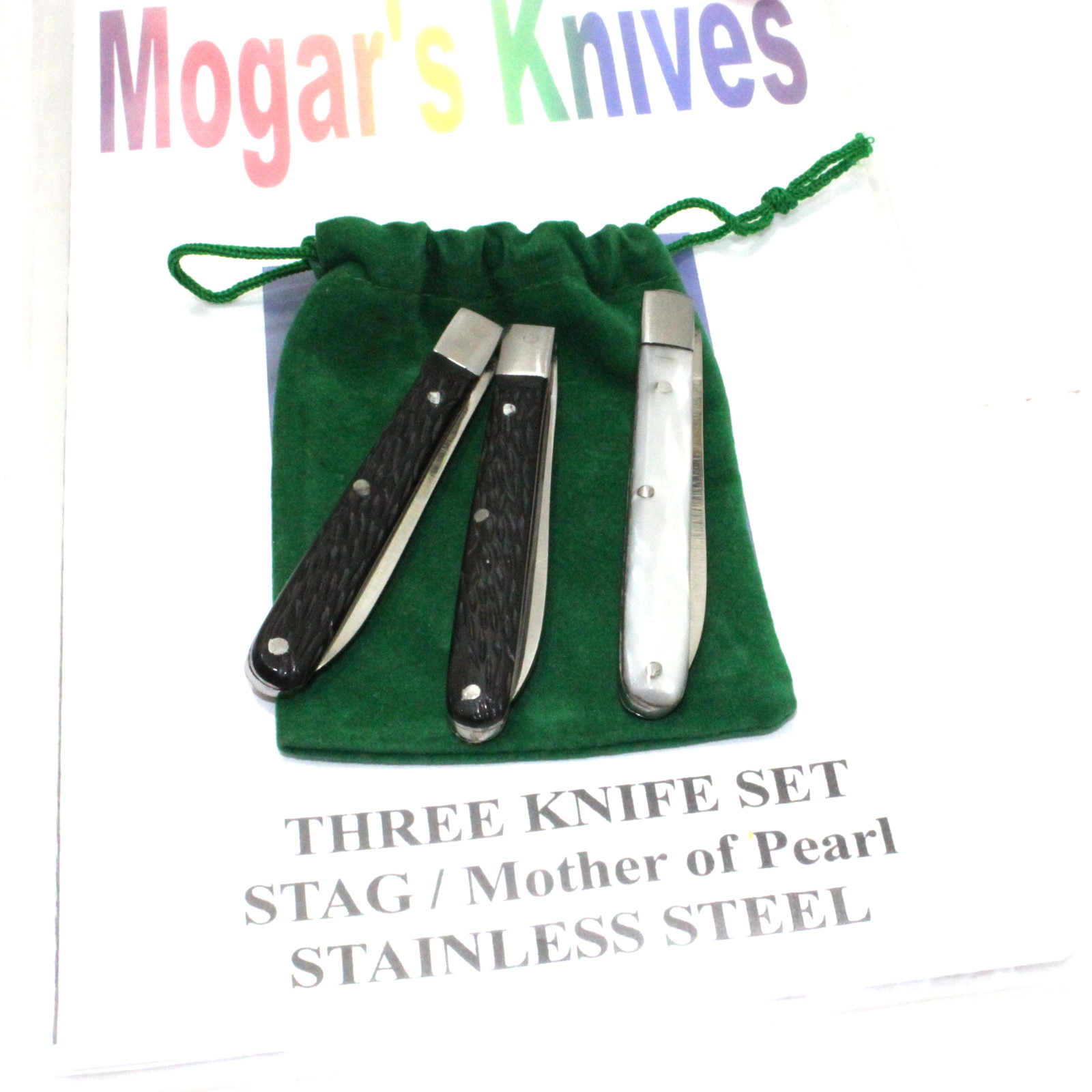 Three Knife Set, Stag and Mother of Pearl in Stainless Steel by Joe Mogar