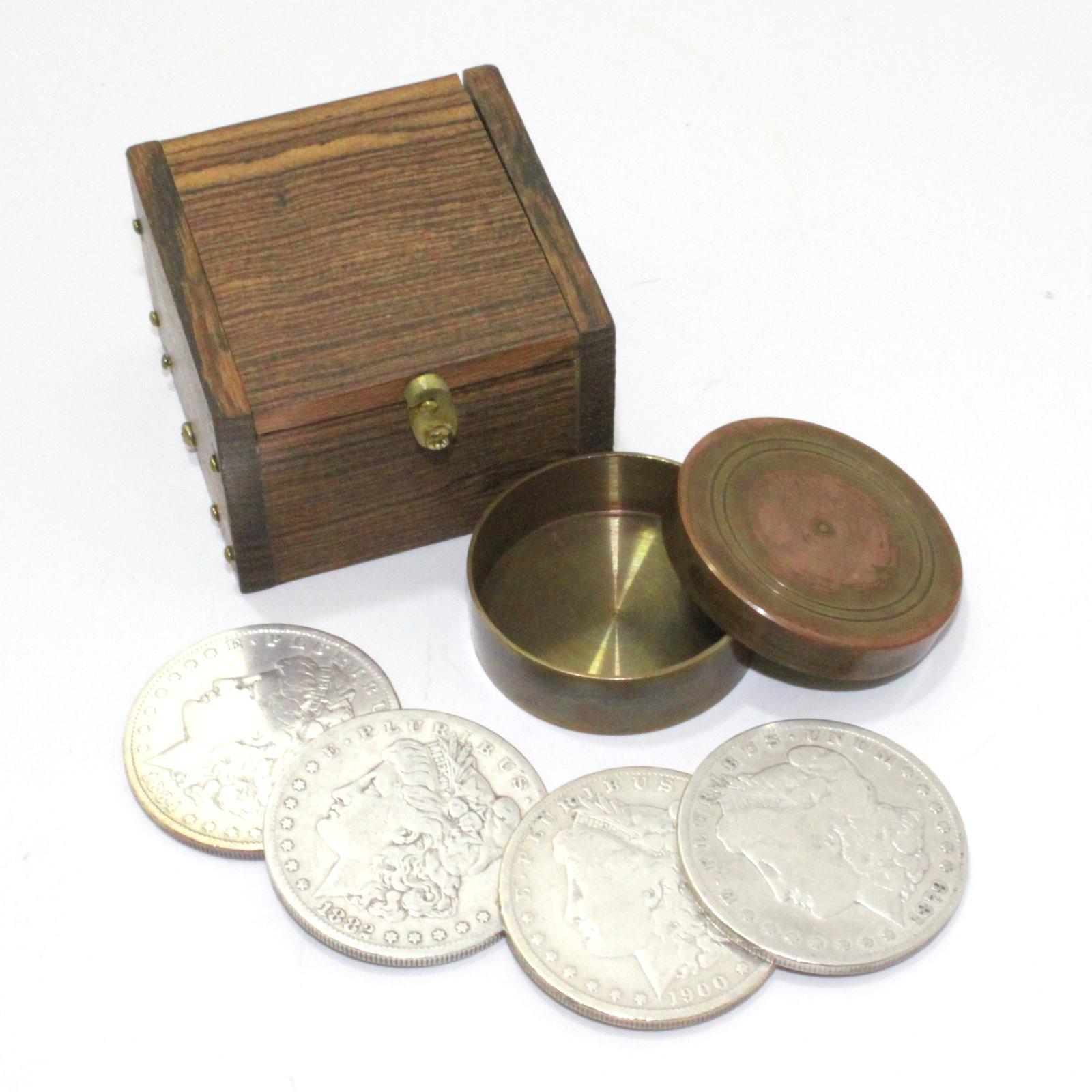 Copper Dollar Okito and Shedua Wood Lippincott Box