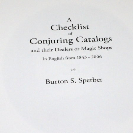 A Checklist of Conjuring Catalogs by Burton Sperber