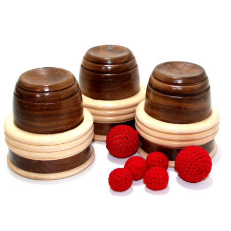 Signature Hardwood Cups and Balls with Chop Cup by Paul Lembo