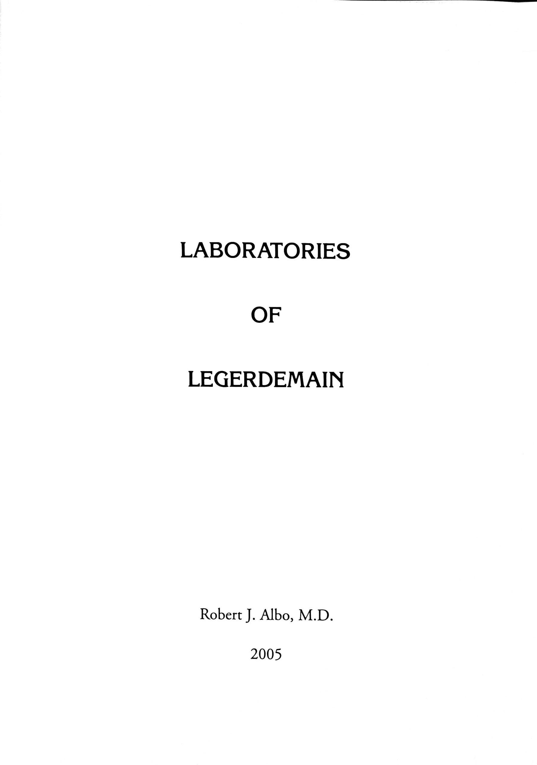Albo 11 - Laboratories of Legerdemain by Robert J. Albo